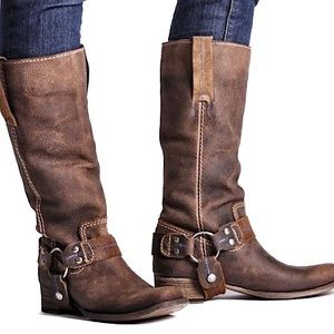 Bed Stu Harness Brown Leather Cowboy Boots Size 8